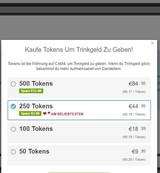 cam4 tokens kaufen